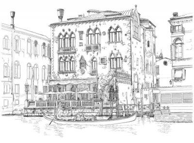 Benátky - Canal Grande. Starobylé budovy a gondola. Vektorové kreslení
