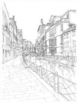 Benátky - Fondamenta Rio Marin. Vektorové kreslení