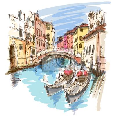 Benátky, Itálie. 2 gondoly