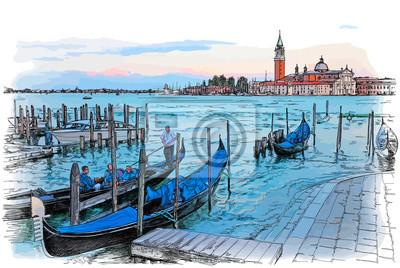Benátky. Itálie. Quay Piazza San Marco. Gondoly na vodě a ostrov San Giorgio Maggiore. Vektorové barevné ilustrace
