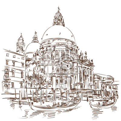 Benátky - Katedrála Santa Maria della Salute - vektor skica