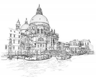 Benátky - Katedrála Santa Maria della Salute - vektorové kreslení