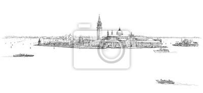 Benátky - ostrov San Giorgio Maggiore. Vektorové kreslení