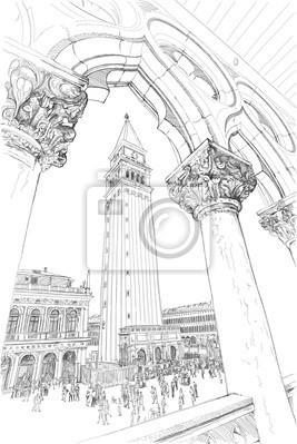 Benátky - Piazza San Marco a Kampanila. Pohled z Dóžecího Pa