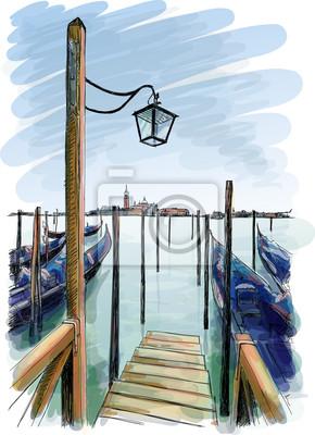 Benátky. Pouliční lampa a gondoly na vodě