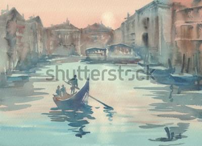Obraz Benátky skica v ranní mlze akvarel krajiny s gondolou