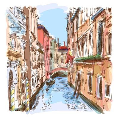 Benátky - vodní kanál a gondola pryč