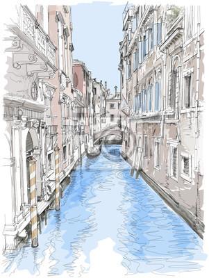 Benátky - vodní kanál, staré budovy
