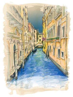 Obraz Benátky - vodní kanál, staré budovy a gondola daleko