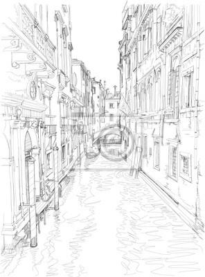 Benátky - vodní kanál, staré budovy a gondola daleko. Vektorové dra