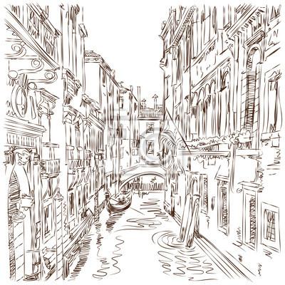 Benátky - vodní kanál, staré budovy a gondola daleko. Vektorové SKE