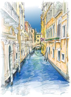 Benátky - vodní kanál, staré budovy a gondola pryč