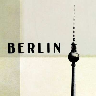 Obraz Berlín Vintage pohlednice - televizní věž a písmena na abstraktní zázemí