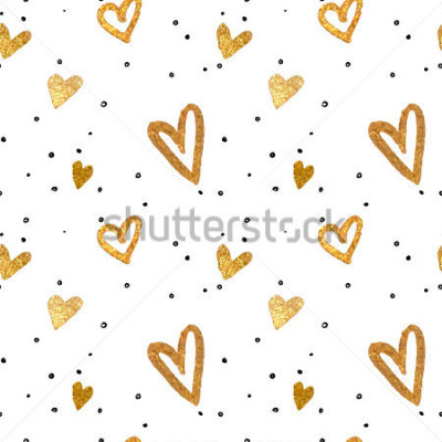 Obraz Bez toho, aby byl vzorek ve zlatých srdcích. Vektorové kovové ilustrace.