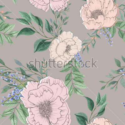 Obraz bezešvé akvarel zázemí mix barevné květinové květiny a listy s perokresby pro texturu pozadí, balicí papír, textilní nebo tapety design