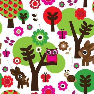 Obraz Bezešvé farma sova strom zvíře vzor vektoru