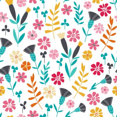 Obraz Bezešvé jasný skandinávský květinovým vzorem