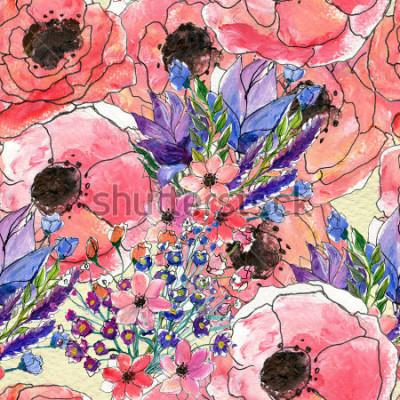 Obraz Bezešvé květinové akvarel vzor