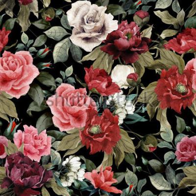 Obraz Bezešvé květinové vzory s růžovými růžemi a pivo na tmavém pozadí, akvarel
