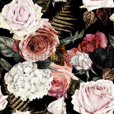 Obraz Bezešvé květinový vzor s růží, akvarel.