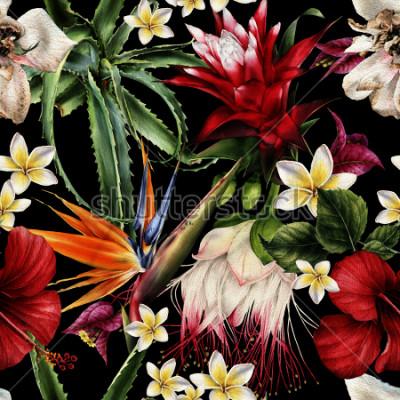 Obraz Bezešvé květinový vzor s tropickými květinami, akvarel.