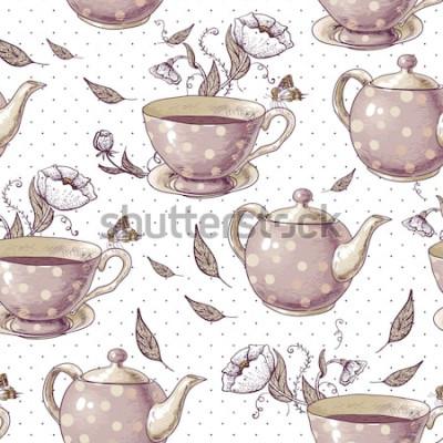 Obraz Bezešvé pozadí s šálky čaje, hrnce a květiny v retro stylu.