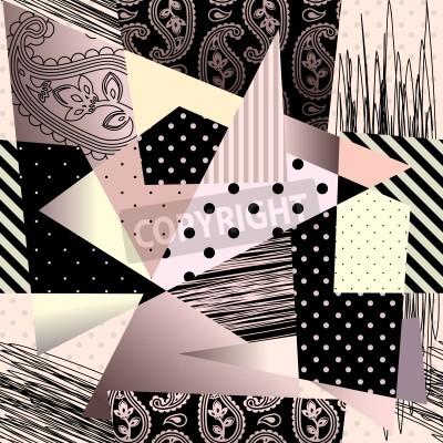 Obraz Bezešvé pozadí vzor. Bude dlaždice donekonečna. Abstraktní geometrické pozadí v kubistickém stylu.