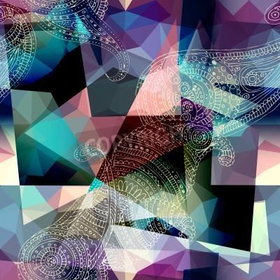 Obraz Bezešvé pozadí vzor. Imitace kubismus styl malby.