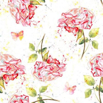 Obraz Bezešvé pozadí vzor s růžemi, akvarel postříkání a motýlů