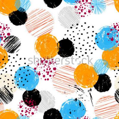 Obraz bezešvé pozadí vzorek, s kruhy / tečky, tahy a postříkání