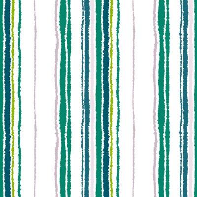 Obraz Bezešvé proužek vzor. Svislé čáry s potrhaný papír efekt. Skartovat hrana pozadí. Kontrast světle a tmavě šedá, olivová, zelené barvy na bílou. Vektor