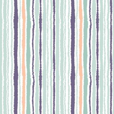 Obraz Bezešvé proužek vzor. Svislé čáry s potrhaný papír efekt. Skartovat hrana pozadí. Světle a tmavě šedý, olivový, tyrkysové barvy na bílou. Vektor
