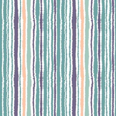 Obraz Bezešvé pruhovaný vzor. Svislé úzké linky. Roztrženého papíru, drcení hrana textury. Modrá, bílá, oranžová měkké barevné. Vektor