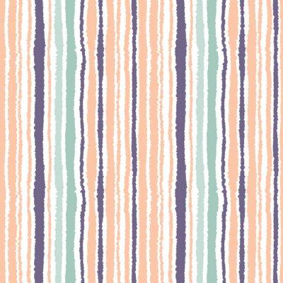 Obraz Bezešvé pruhovaný vzor. Svislé úzké linky. Roztrženého papíru, drcení hrana textury. Oranžová, modrá, bílé světlo měkké barevné pozadí. Vektor