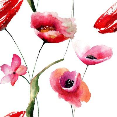 Obraz Bezešvé tapety s máky květiny