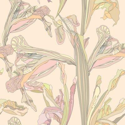 Obraz bezešvé vektorové pozadí jemné květiny duhovky na béžové pozadí