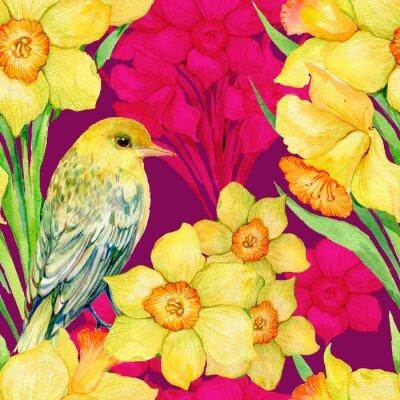 Obraz bezešvé vzor .Illustration vodová, květiny, květy narcisů a pták hajní