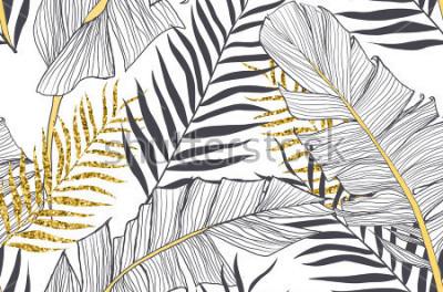 Obraz Bezešvé vzor s banány a zlaté palmové listy ve vektoru