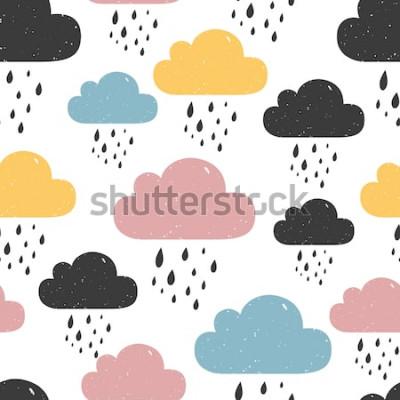 Obraz Bezešvé vzor s barevnými deštivými mraky. Vektorové ilustrace