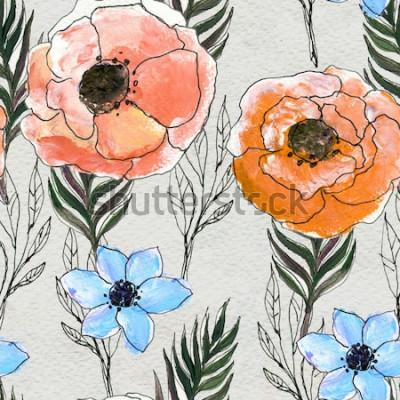 Obraz Bezešvé vzor s barevnými květinami
