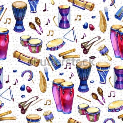 Obraz Bezešvé vzor s bubny ve stylu akvarelu na bílém pozadí. Bicí hudební nástroje. Barevný design pro retro party ve stylu Memphis. ilustrace