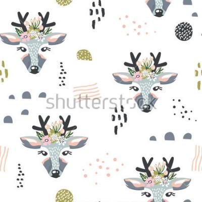 Obraz Bezešvé vzor s jeleny, květinové prvky, větve. Kreativní lesní pozadí. Perfektní pro děti oblečení, tkaniny, textil, dekorace školky, balicí papír.Vector Ilustrace
