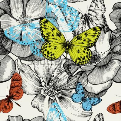 Obraz Bezešvé vzor s kvetoucí růže a létající motýli, ruční kreslení. Vektorové ilustrace.