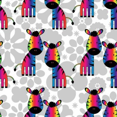 Obraz Bezešvé vzor s legrační duhy zebry