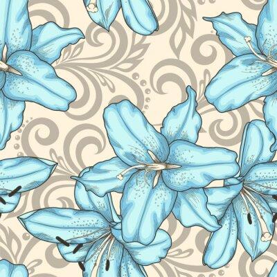 Obraz bezešvé vzor s modrými květy lilií a abstraktních květinové lokýnky