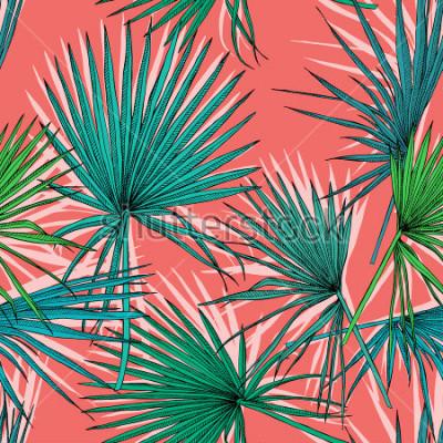 Obraz Bezešvé vzor s obrazem zelené Ventilátor palmové listy na korálovém pozadí. Vektorové ilustrace.