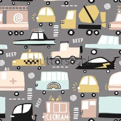 Obraz Bezešvé vzor s roztomilá auta. Kreslený auta, silniční poklopy, přechod pro chodce vektorové ilustrace. Ideální pro děti textilie, textil, tapety pro školky. Vektorové ilustrace.