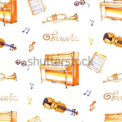Obraz Bezešvé vzor s ručně tažené hudební nástroje na texturu pozadí akvarel.