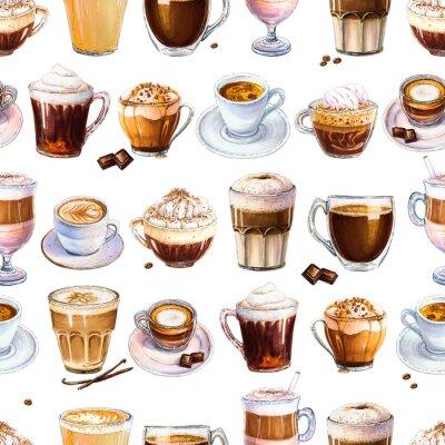 Obraz Bezešvé vzor s různými kávové nápoje na bílém pozadí. Ilustrace espressa, latte a americano, cappuccina a jiné chutné kávy. Ručně tažené značky, akvarel.