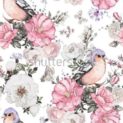 Obraz Bezešvé vzor s růžovými květy, pták - pěnkava a listy na bílém pozadí, akvarel květinovým vzorem, květ růže v pastelových barvách, dlaždice pro tapety, vintage karty nebo tkaniny  t